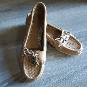 Sperrys boat shoes woven leather tan 8